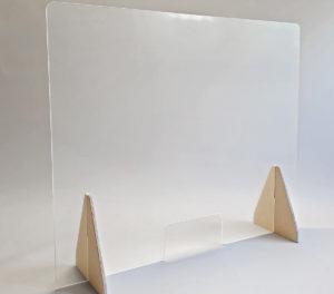 Das Bild zeigt die S-SHIELD Hygieneschutzwand als Spuckschutz. Geeignet für Gesprächszonen bei Veranstaltungen, Messen, Countern, Anmeldetresen. Von Simons Works aus Bonn.